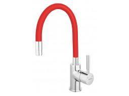 Baterie bucătărie cu pipă flexibilă rosie Ferro Zumba BZA4R