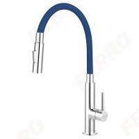 Baterie bucătărie cu pipă flexibilă albastra Zumba Slim 2F - BZA43L