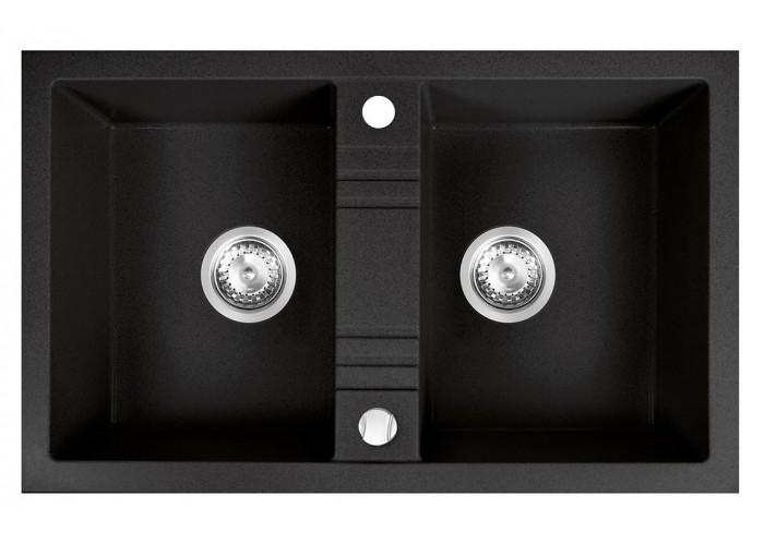Chiuvetă bucătărie dublă 78x48 cm, grafit Mezzo II