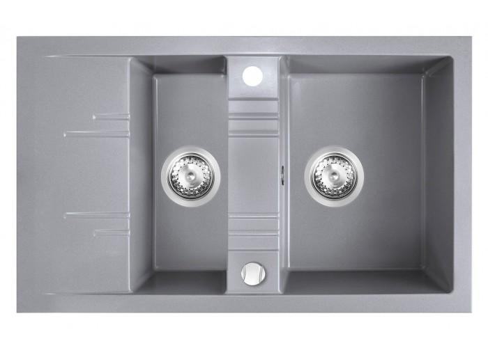 Chiuvetă bucătărie dublă 79x48 cm, gri Mezzo II
