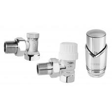 "Set robineti radiator coltari 1/2"" cu cap termostatic, crom"