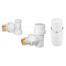"""Set robineti radiator coltari 1/2"""" cu cap termostatic, alb"""